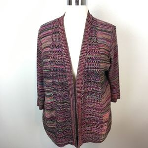 Avenue Multi-Color Open Front Cardigan, Made in US